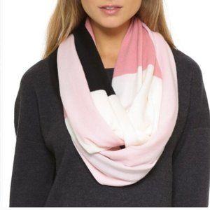 kate spade pink black white stripe infinity scarf
